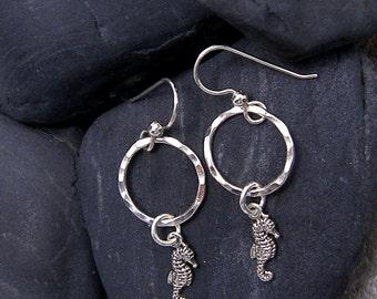 Sea Horse Dangle Earrings Sterling Silver