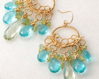 Made To Order - Green Amethyst, Swiss Blue Quartz, Peridot, Apatite - Cluster - Wire Wrapped - Chandelier Earrings