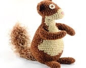 seymour the handmade crocheted plush brown chenille squirrel softie