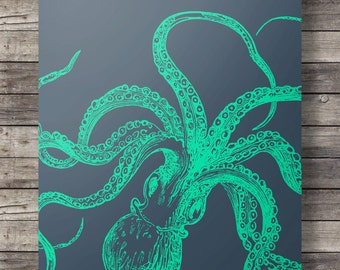 Nautical octopus print | Blueprint octopus | Navy and teal nautical art print | Kraken art print | Printable wall art | Coastal Nautical art