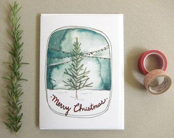 SALE - Blank Holiday Card - Merry Christmas Card - Christmas Tree - Christmas Card - Christmas Tree Card - Holiday Card - Merry Christmas