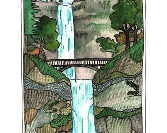 Art Print - Print of Painting - Oregon Art - Multnomah Falls Art Print - Oregon Art Print - 8x10 Print - Multnomah Falls