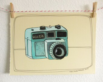 Sale - Illustration - Original Art - Camera Art - Original Vintage Camera Illustration - Original Artwork - Holga Camera Art - Holga
