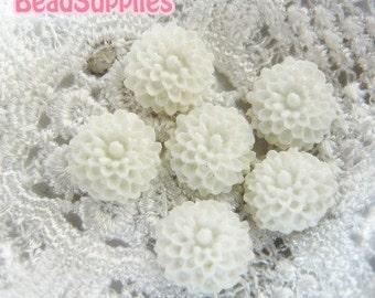 Special Price - CA-CA-02002 - White mini mum Cabochon, 8 pcs