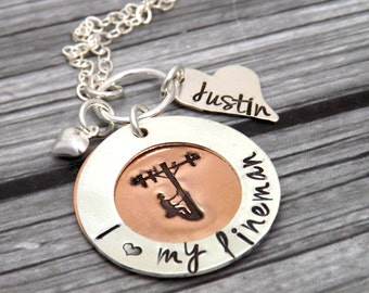 lineman necklace-lineman wife-telephone jewelry-personalized lineman necklace-hand stamped