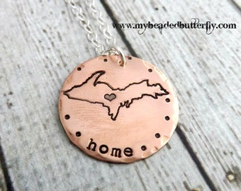 Michigan necklace-hand-stamped necklace-Great lakes-aluminum Michigan necklace-upper peninsula
