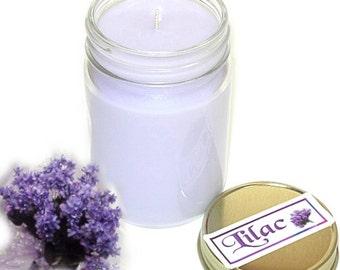 Lilac Mason Jar Candle Floral Scent 12 Oz Handmade