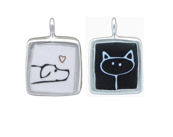 Dog and Cat Necklace - Black and White Enamel and Sterling Pendant