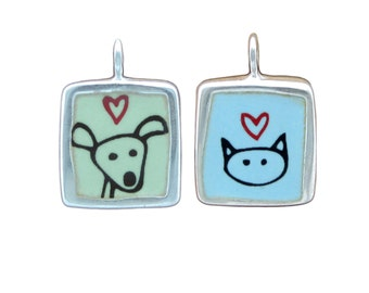 Dog and Cat Necklace - Reversible Sterling Silver and Vitreous Enamel Dog Pendant and Cat Pendant in Blue and Green