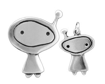 Mother Daughter Orbit Girl Necklaces - Set of Two Sterling Silver Astronaut Pendants or Alien Pendants