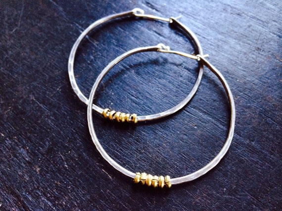 Medium sterling forged hoops with brass hishi
