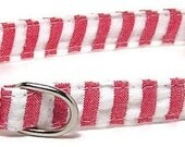 XS Dog Collar - Candy Stripes - Size Extra Small Miniature Teacup - Fancy, Soft and Handmade