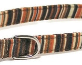 Dog Collar - Earthy Stripes - Size XS to Large - Fancy, Soft and Handmade