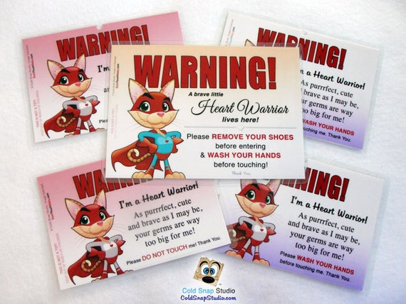 HEART WARRIOR, CHD Awareness Bundle Gift Pack: Child Hero - Remove Your Shoes, Do Not Touch Me and Wash Your Hands Car Seat Signs for Girls