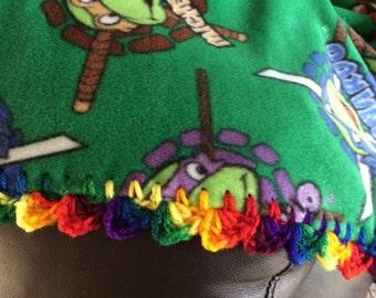 Ninja Turtle Fleece Blanket wirh Crocheted Edging
