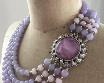 SALE Vintage Necklace, Wedding Necklace, Statement Necklace - Lilac