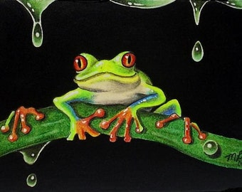 Tree Frog Miniature Art by Melody Lea Lamb ACEO Print #334
