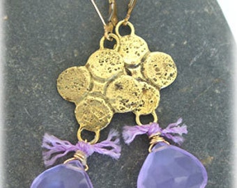 Ancient Charm / Lavender Briolette Drop Earrings - Roman Replica Charms in Gold