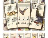 birds on sheet music, domino rectange 1x2 inch digital collage sheet no. 63