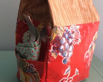 Basic Oilcloth Lunch Bag- Fruity Faux Bois