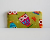 Zipper Pouch Pencil Case Owls on Pistachio Amy Schimler On a Whim
