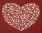 Valentine heart, original drawing with gel pen.