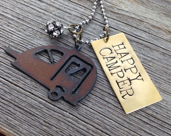 Happy Camper Necklace | Rustic Recycled Metal Teardrop Travel Trailer, Hand Stamped Tag, Rhinestone Ball Bead, Heart Charms