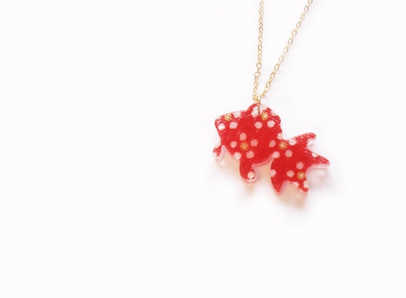 japanese goldfish necklace in red