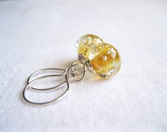 Light Yellow Caramel Lampwork Sterling Silver Earrings UK Seller Contemporary Artisan Asymmetrical Glass Jewellery Gift Idea