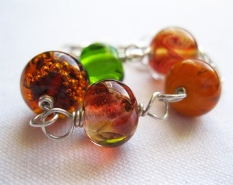 Autumnal Orange, Dark Amber and Bright Green Lampwork Bead Sterling Silver Bracelet UK Seller Contemporary Asymmetrical Jewellery