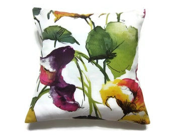 Decorative Pillow Cover Bold Floral Green Blue Yellow Pink Purple Black White Same Fabric Front/Back18x18 inch Toss Throw Accent Cover x