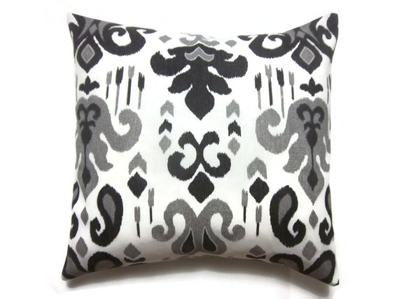 Black White And Gray Throw Pillows : Decorative Pillow Cover Black White Gray Ikat by LynnesThisandThat