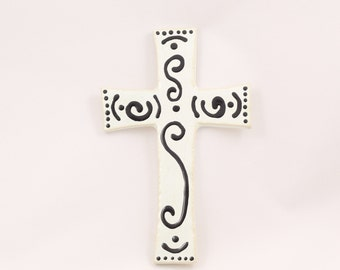 Black and White Hanging Cross, 50% Off