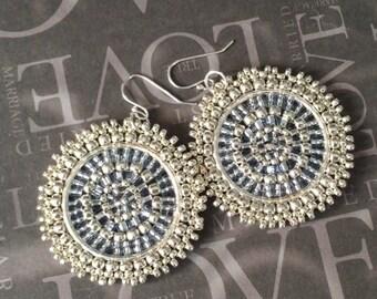 Small Beaded Silver Disc Earrings Bright Silver Goddess Seed Bead Earrings