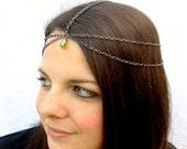Gunmetal Head Chain with Swarovski Crystal Drop, Choose Your Color, Jeweled Head chain, Gypsy Headpiece, Boho headpiece, Renaissance, Larp