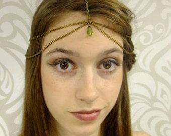 Antiqued Brass and Peridot Headchain, Boho Headband, Gypsy Hair Piece, Antiqued Brass Headpiece, Circlet, Boho Headpiece