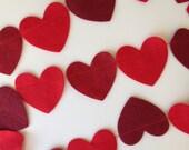Red Felt Heart Garland - 3 Yards