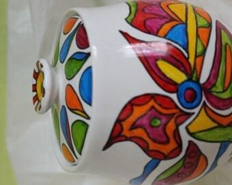 Sweet sugar bowl hand painted gorgeous design