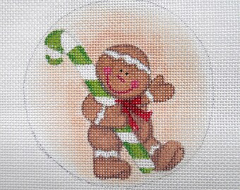 Handpainted needlepoint canvas Gingerbread and Candy Cane