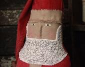 Primitive Christmas Santa Doll, Folk Art Santa, Christmas Decor, Handmade Santa Doll