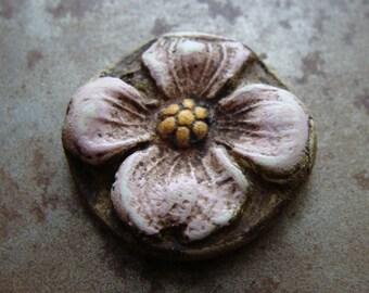 Antiqued Dogwood Blossom Pendant in Pink