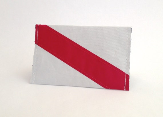 Recycled Sail Mini Wallet - Red Stripe