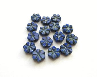 Sapphire Blue Flat Czech Glass Flower Beads with Picasso Finish, 10mm - 15 pieces
