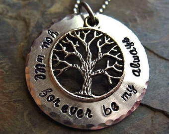Hand Stamped Family Tree Necklace, Mother's Day Gift, You Will Forever Be My Always, Love Jewelry, Family Necklace, Custom, Personalized