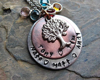 Family Tree Necklace, Personalized Name Necklace, Hand Stamped, Mom Jewelry, Tree of life, Copper, Birthstone Necklace