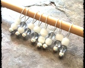 Snag Free Stitch Markers Small Set of 8 - Blue and White Glass -- K50 -- Up to size US 8 (5.0mm) Knitting Needles