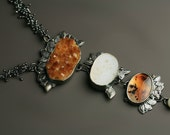 Citrine Druzy, Montana Moss Agate and Pearls Necklace . Raw Citrine Statement Necklace