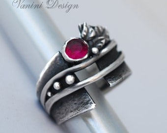 Fine silver and lab ruby ring