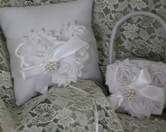 SALE-Ring Bearer Pillow and Flower Girl Basket White Shabby Chic-Pearls and Rhinestones
