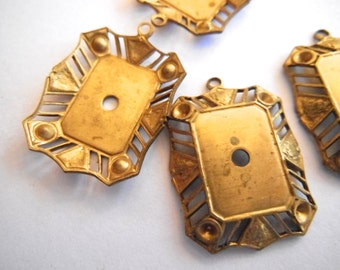 VIntage filigree settings (2) brass patina metal loop lace pendant bead charm drop stone 14 x 10 rectangle 26 x 20 piece (2)
